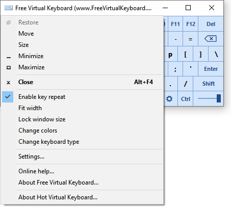 virtual keyboard with context menu